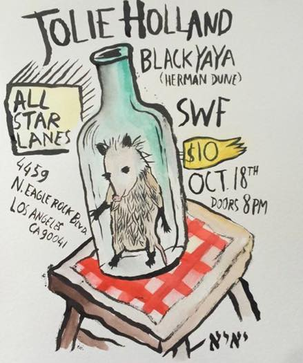 Jolie Holland and Black Yaya in Santa Monica October 18th at All Star Lanes